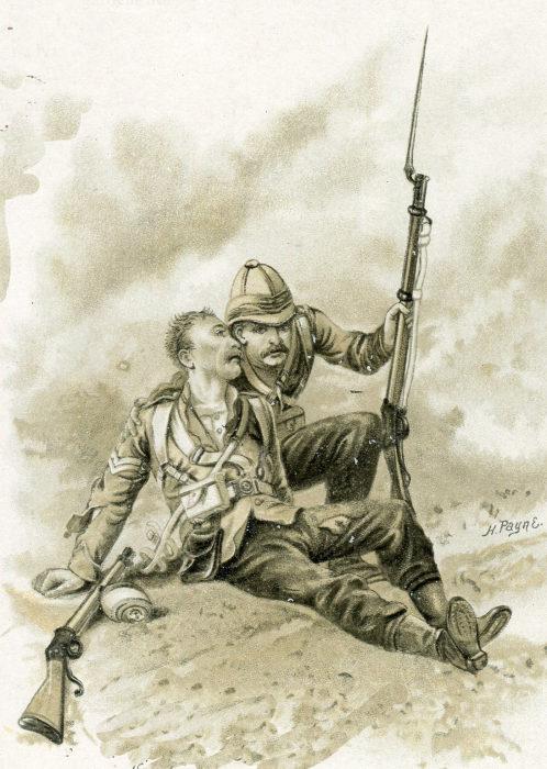 Британский солдат спасает раненого товарища, 2-я англо-афганская война. Harry Payne. | Фото: britishbattles.com.