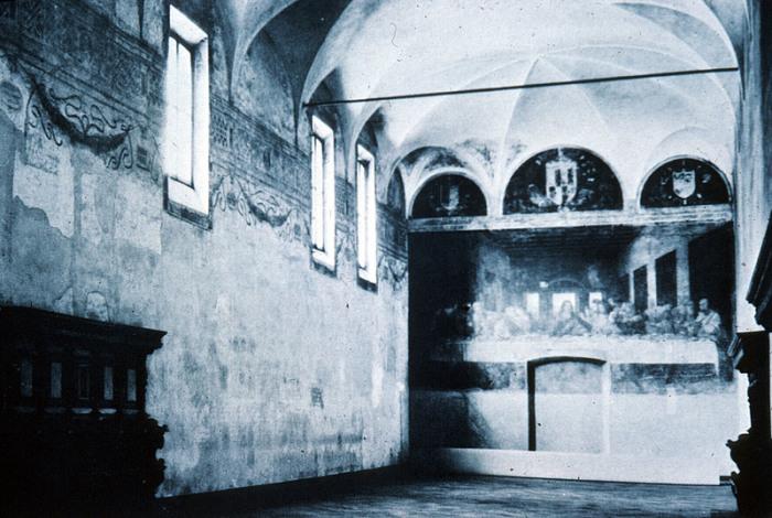 «Тайная вечеря» в миланском монастыре Санта-Мария-делле-Грацие перед Второй мировой войной. | Фото: witcombe.sbc.edu.