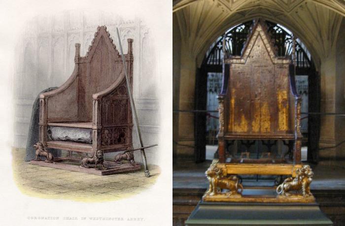 Кресло короля Эдуарда в Вестминстерском аббатстве и его рисунок 1855 года. | Фото: en.wikipedia.org.