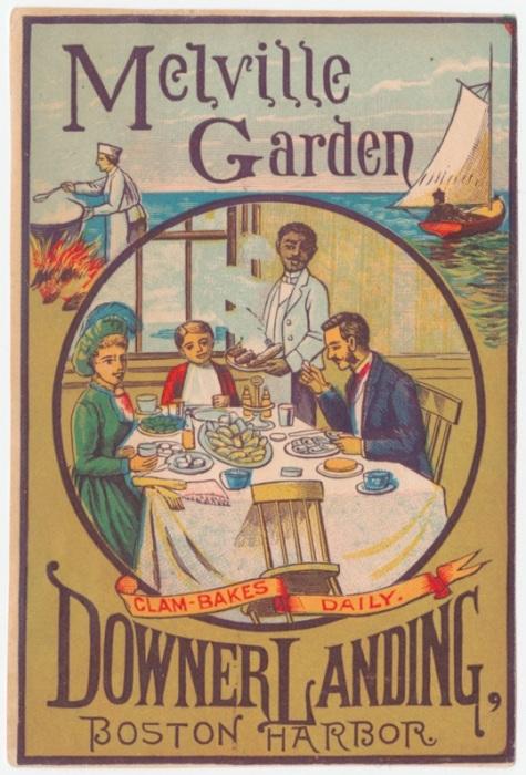 Карточка, обещающая посетителю хорошо проведенное время, а также блюда из моллюсков в ресторане Downer Landing. | Фото: rare.library.cornell.edu.