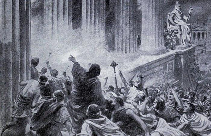 Христиане уничтожают Александрийскую библиотеку. | Фото: kulturologia.ru.