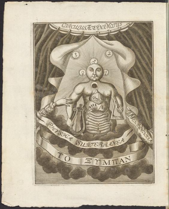 Тело в алхимической лаборатории, гравюра в Physica subterranea Йоахима Бехера, 1738 год. | Фото: atlasobscura.com.
