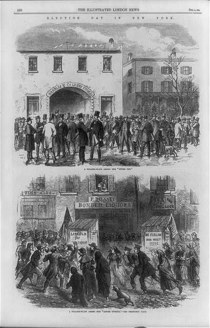 Две сцены в день выборов богатом и бедном районах Нью-Йорка в 1864 году. | Фото: loc.gov.