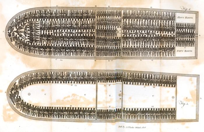 Поперечное сечение палуб невольничьего судна со схемой размещения рабов. | Фото: lostfeather.weebly.com.