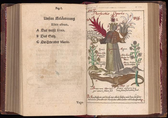 Совершенствование работы, раскрашенная вручную гравюра в Compendium alchymist(ae) novum sive Pandora Иоганна Михаэля Фауста, 1706 год. | Фото: atlasobscura.com.