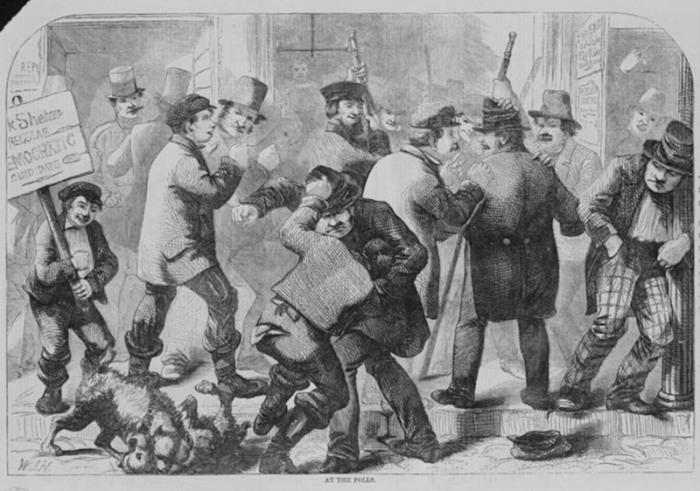 Драка на избирательном участке, 1857 г. | Фото: loc.gov.
