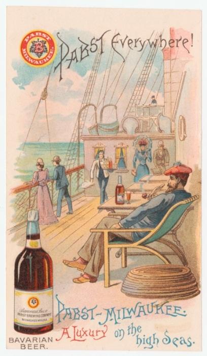«Роскошь в открытом море» в рекламе пива Pabst. | Фото: rare.library.cornell.edu.