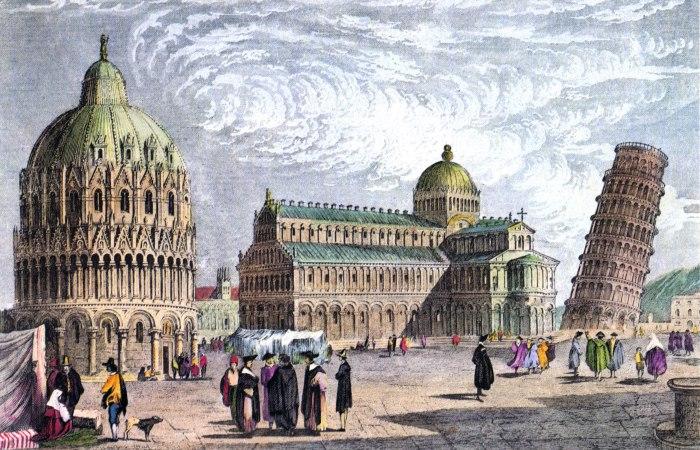 Пизанская башня на Площади чудес. Рисунок 1830 года. | Фото: rundetaarn.1642.dk.