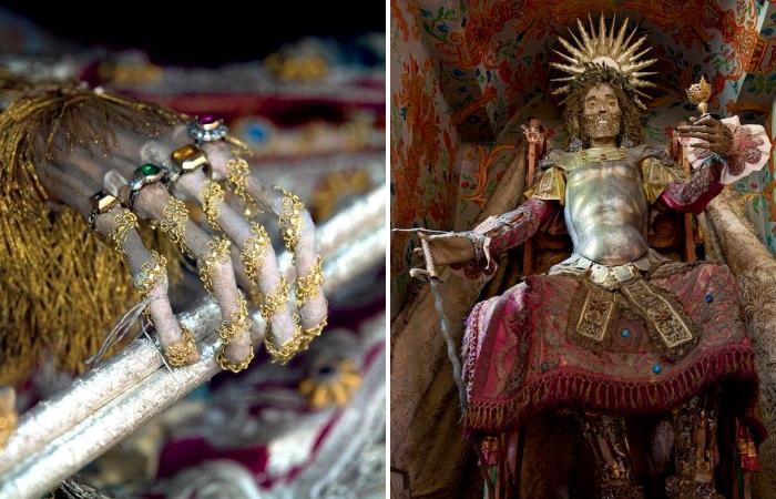 Мощи христианских святых, превращенные в предметы религиозного искусства.
