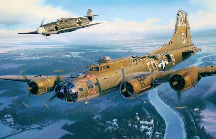 Немецкий истребитель и американский бомбардировщик. | Фото: pinterest.com.