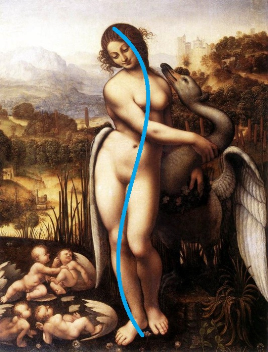 S-образная линия на картине Леонардо да Винчи «Леда и лебедь». | Фото: michel.hiblogger.net.