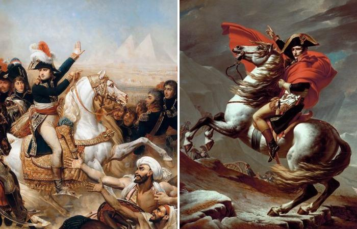 Наполеон Бонапарт верхом на своих любимых лошадях.