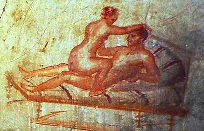 Настенное изображения в помпейском борделе. | Фото: espreso.rs.