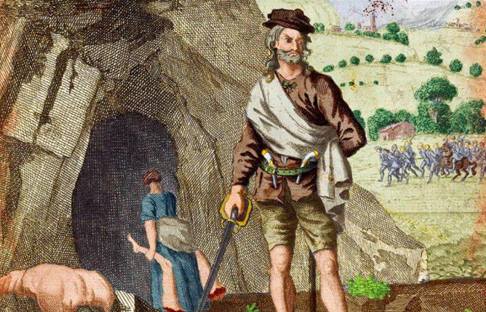 Александр «Соуни» Бин возле своей пещеры. Рисунок XVIII века. | Фото: clan.com.