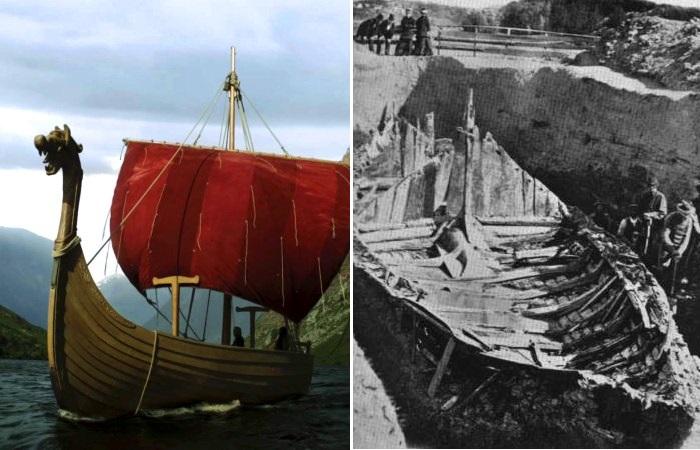 Деревянные корабли викингов, древних жителей Скандинавии.