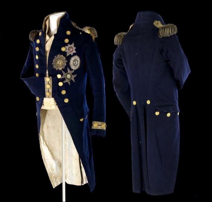 Мундир вице-адмирала Нельсона, в котором он был смертельно ранен во время Трафальгарского сражения.