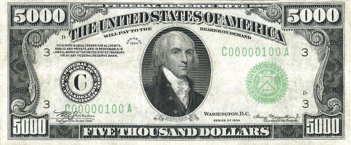 Президент США рабовладелец-плантатор Джеймс Мэдисон на купюре 5000$. | Фото: ru.wikipedia.org.