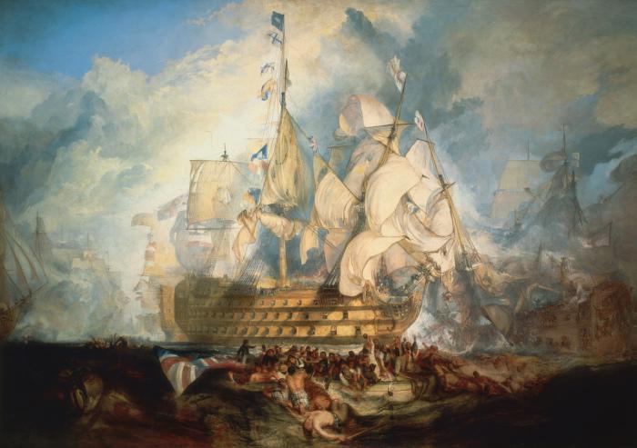 Картина Уильяма Тёрнера «Трафальгарская битва». На флагмане HMS Victory поднят знаменитый сигнал «Англия ждёт, что каждый выполнит свой долг».