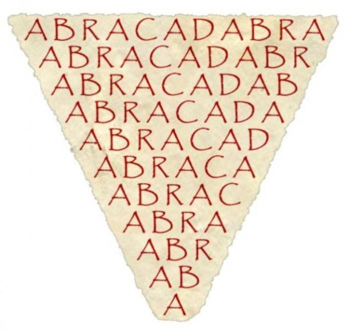 Слово «абракадабра», написанное определенным образом, в Средние века считалось мощным амулетом. | Фото: commons.wikimedia.org.
