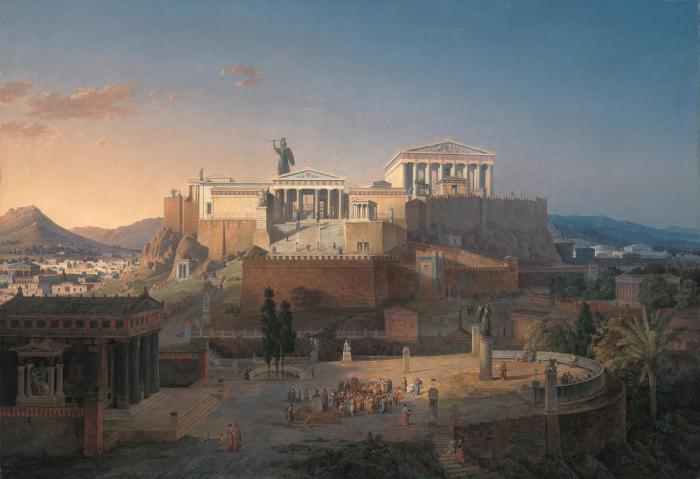 Афинский Акрополь, где ритуал фармак стал ежегодным событием. Лео фон Кленце, 1864 год.   Фото: commons.wikimedia.org.