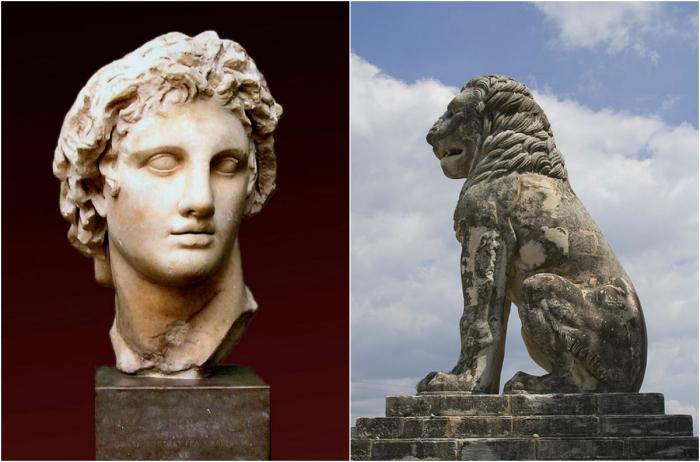 Александр Македонский и лев из греческого Амфиполиса.