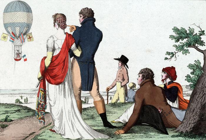 Зрители смотрят на французскую воздухоплавательницу Жанну-Женевьеву Лябросс, летящую на воздушном шаре 28 марта 1802 года. | Фото: commons.wikimedia.org.