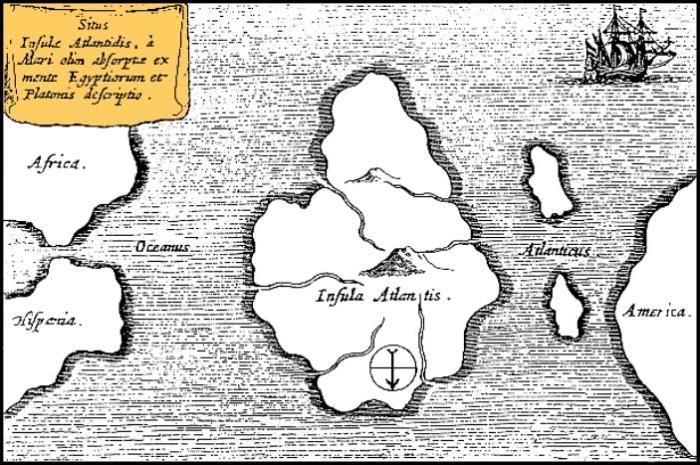 Карта Атлантиды немецкого монаха и ученого Афанасия Кирхера, 1669 год. | Фото: ru.wikipedia.org.