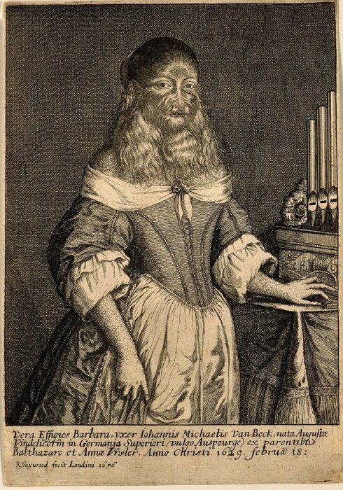 Портрет-гравюра Барбары ван Бек в дорогой одежде. Richard Gaywood, XVII век. | Фото: wellcomecollection.org.
