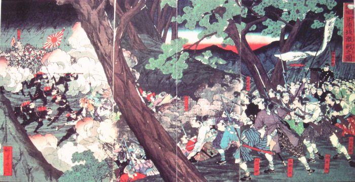 Битва за гору Табарудзака. Самураи справа, у них огнестрельное оружие, а их офицеры одеты в европейские мундиры. | Фото: ru.wikipedia.org.
