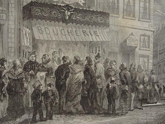 Парижские домохозяйки в очереди к мяснику. | Фото: fr.wikipedia.org.