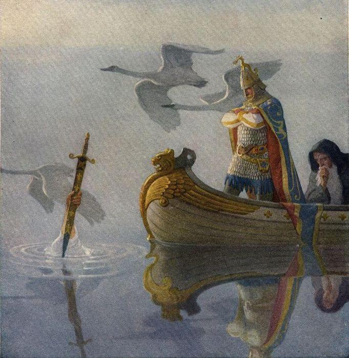 Владычица Озера вручает Экскалибур королю Артуру. Ньюэлл Конверс Уайет, 1922 год. | Фото: ru.wikipedia.org.