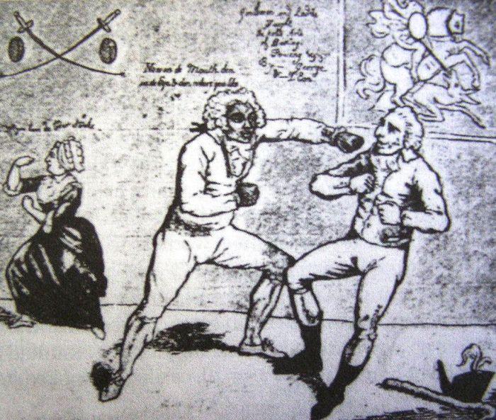 Шевалье де Сен-Жорж боксирует с «рабством». Карикатура в London Morning Post, 1789 год. | Фото: en.wikipedia.org.