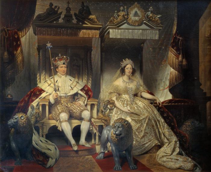 Кристиан VIII и Каролина Амалия, с Кристианом на престоле. Жозеф-Дезире Корт, 1841 год. | Фото: commons.wikimedia.org.