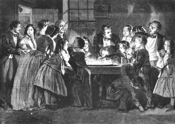 Семья играет в игру «хватка дракона», 1858 год. | Фото: books.google.com.ua.