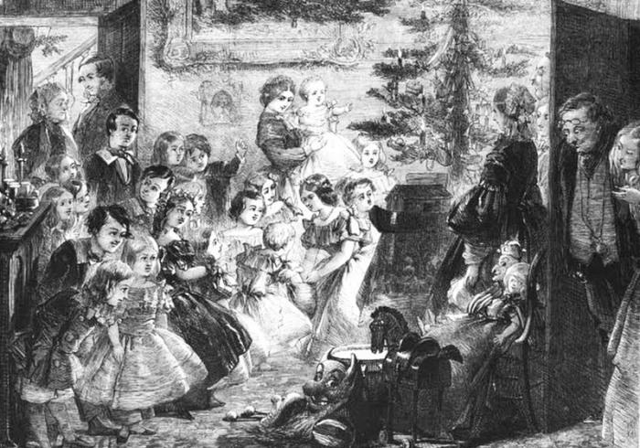 Викторианская семья собралась вокруг праздничной елки. | Фото: books.google.com.ua.