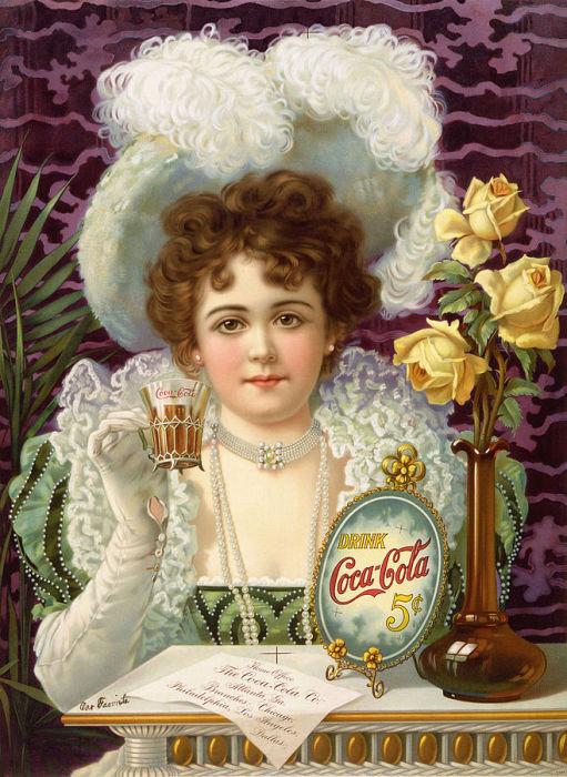 Реклама напитка Coca-Cola, 1890-е годы. | Фото: memory.loc.gov.
