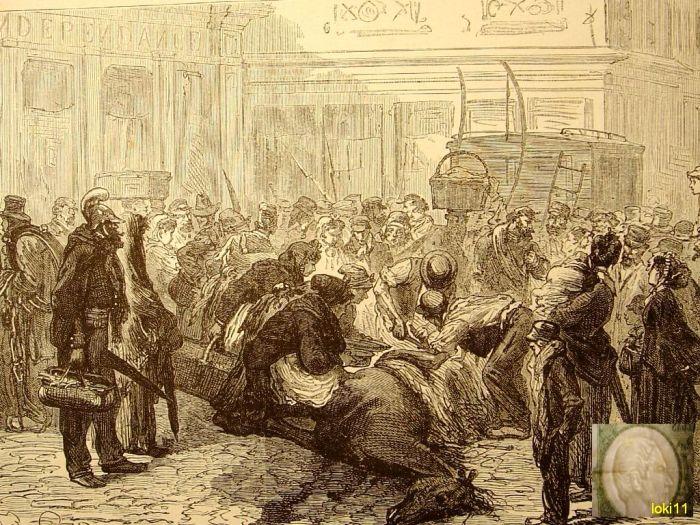 Парижане разделывают павшую лошадь прямо на дороге, 1870 год. | Фото: commons.wikimedia.org.