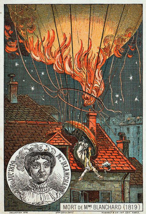 Андре-Жак Гарнерен покидает воздушный шар и опускается с помощью парашюта, 1797 год. | Фото: en.wikipedia.org.