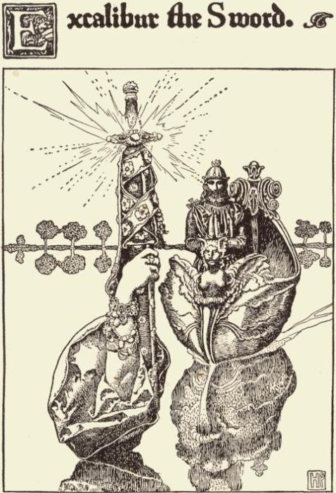 Легендарный король Артур и меч Экскалибур, который держит Озерная фея. Говард Пайл, 1902 год. | Фото: ru.wikipedia.org.