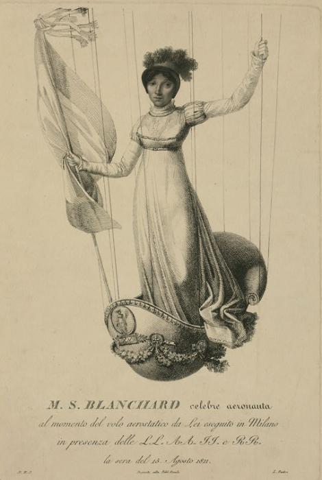 Софи Бланшар стоит в корзине ее украшенного воздушного шара во время полета в Милане, Италия, в 1811 году. | Фото: loc.gov.