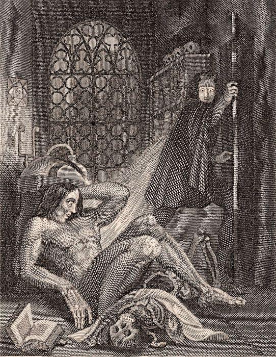 Заглавная гравюра издания «Франкенштейна» 1831 года. | Фото: upload.wikimedia.org.