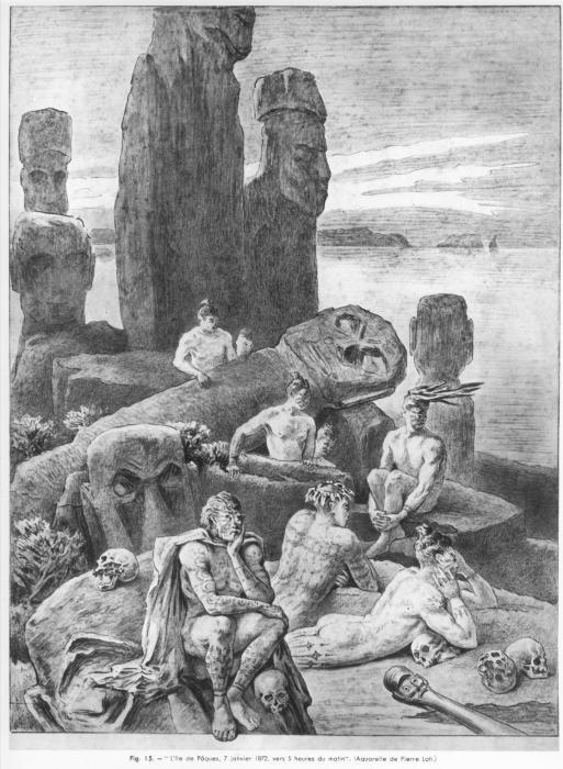 Рапа-нуи ожидают прибытие европейцев. Пьер Лоти, 1872 год. | Фото: ru.wikipedia.org.
