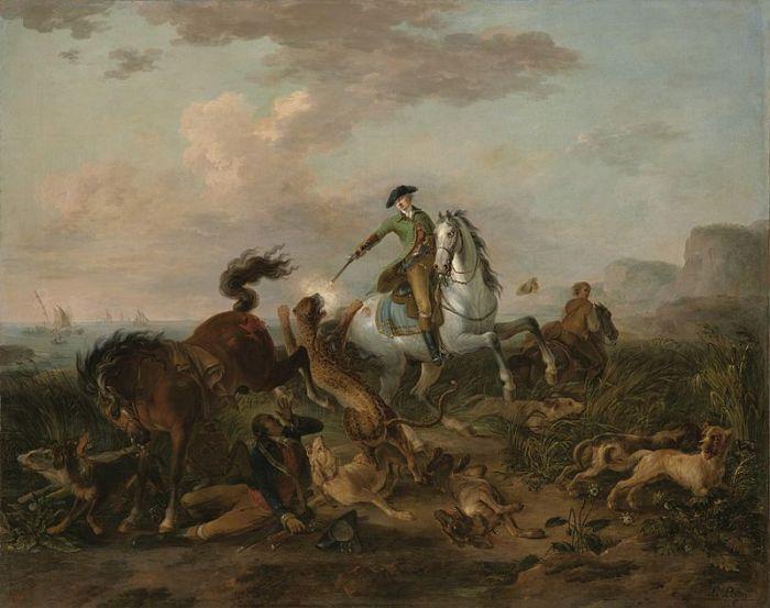 Принц Нассау-Зиген убивает ягуара. Жан-Баптист Ле Паон, 1784 год. | Фото: pl.wikipedia.org.