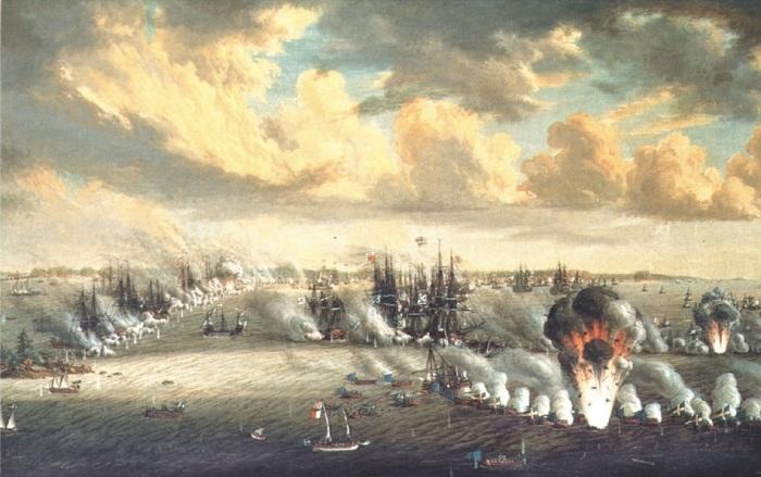 Морская битва между русскими и шведами. Йохан Титрих Шульц, 1792 год. | Фото: ru.wikipedia.org.