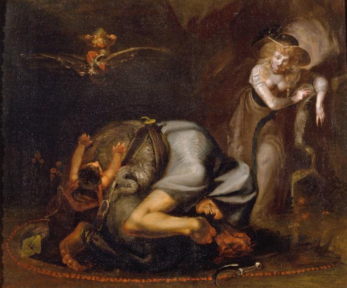 Сцена с ведьмой. Генри Фюзели, 1785 год. | Фото: volynska.livejournal.com.