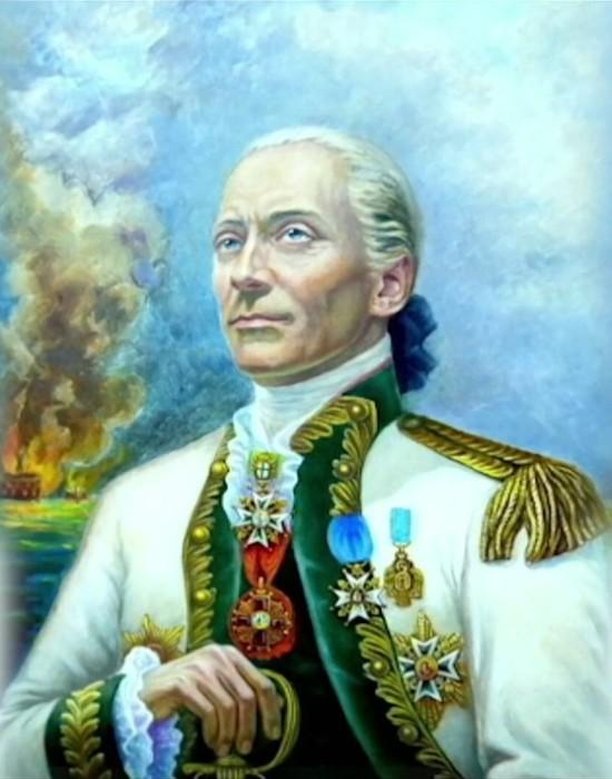Адмирал Джон Пол Джонс в русском мундире контр-адмирала. | Фото: youtube.com.