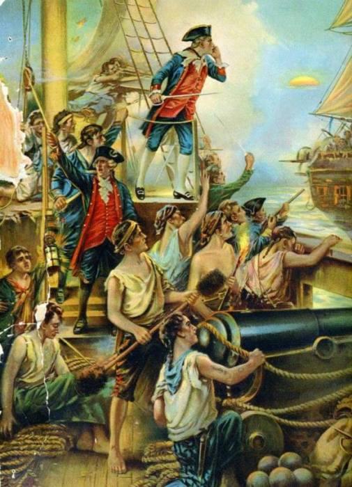 Капитан Джон Пол Джонс окликает британский линейный корабль «Серапис» 23 сентября 1779 года. Художник Paul Moran. | Фото: crashmacduff.wordpress.com.