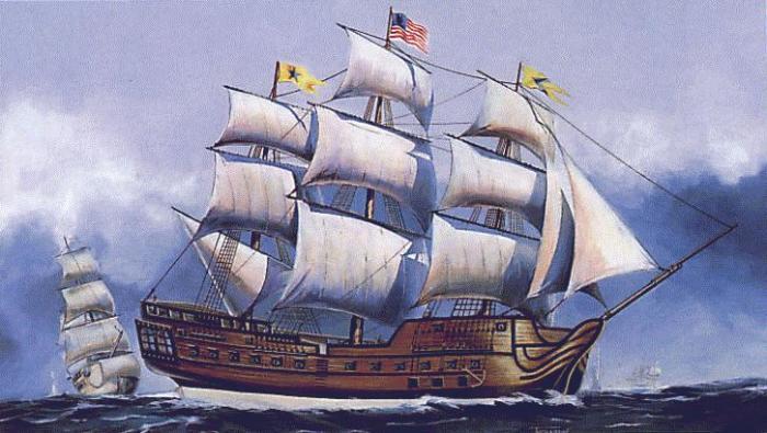 42-пушечный американский корабль «Бонам Ришар». | Фото: reinsteinrevolutionper10.wikispaces.com.