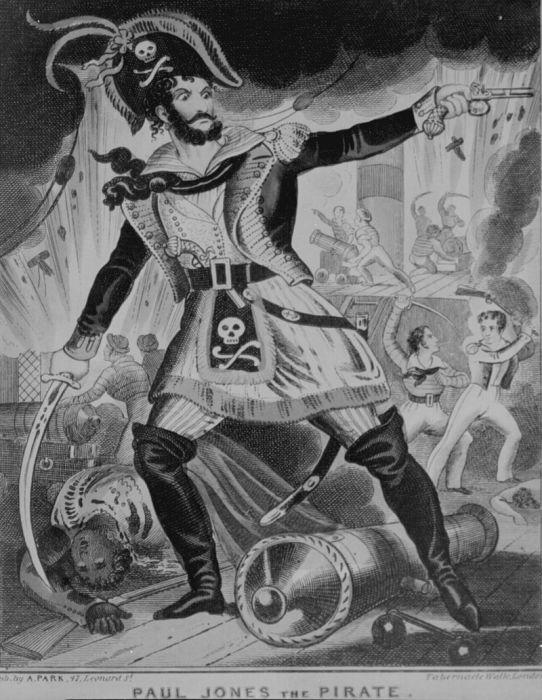 Пират Пол Джонс. Британская карикатура XVIII в. | Фото: en.wikipedia.org.