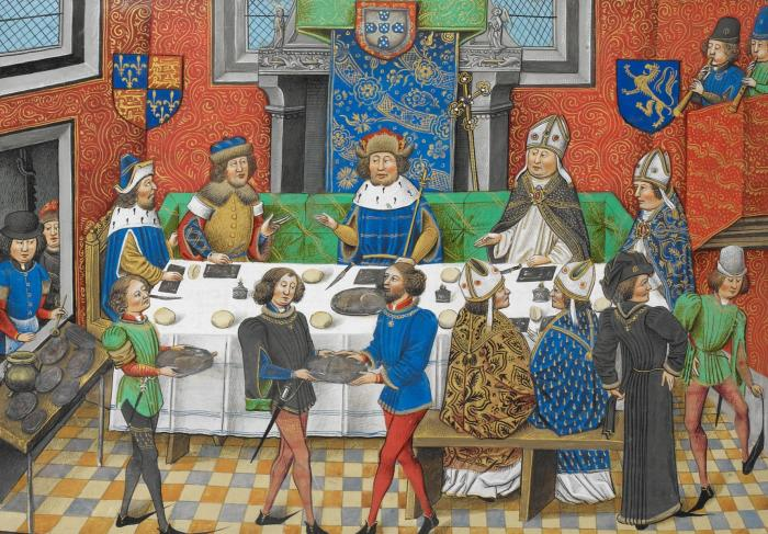 Джон Гонт, 1-й герцог Ланкастер обедает с королем Португалии, конец XV века. | Фото: commons.wikimedia.org.